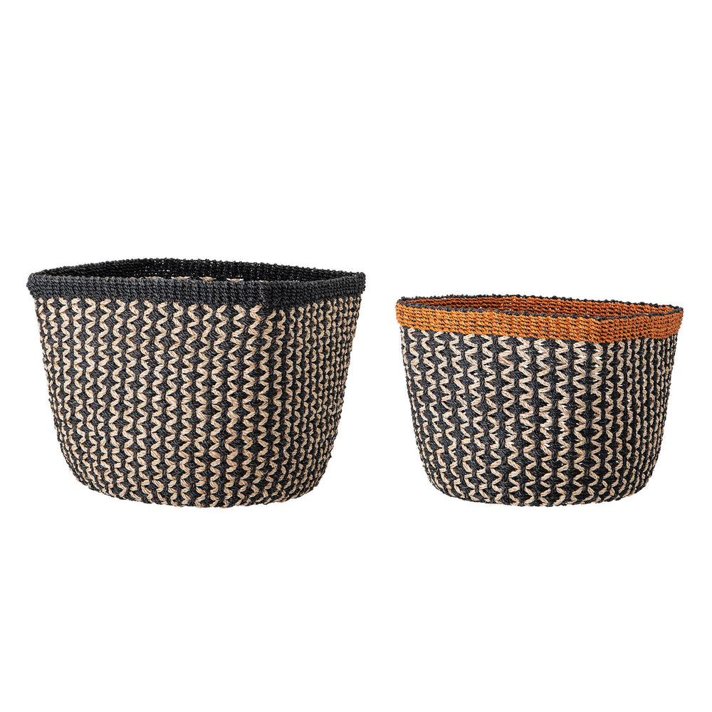 SET OF 2 HANDWOVEN ZIG ZAG STITCH ABACA BASKETS