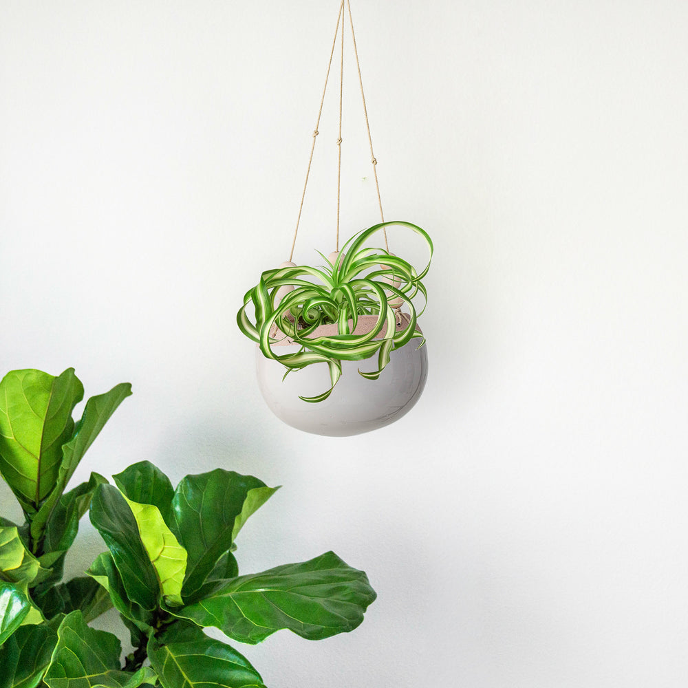 GREY CERAMIC HANGING FLOWER POT WITH WOOD BEADS