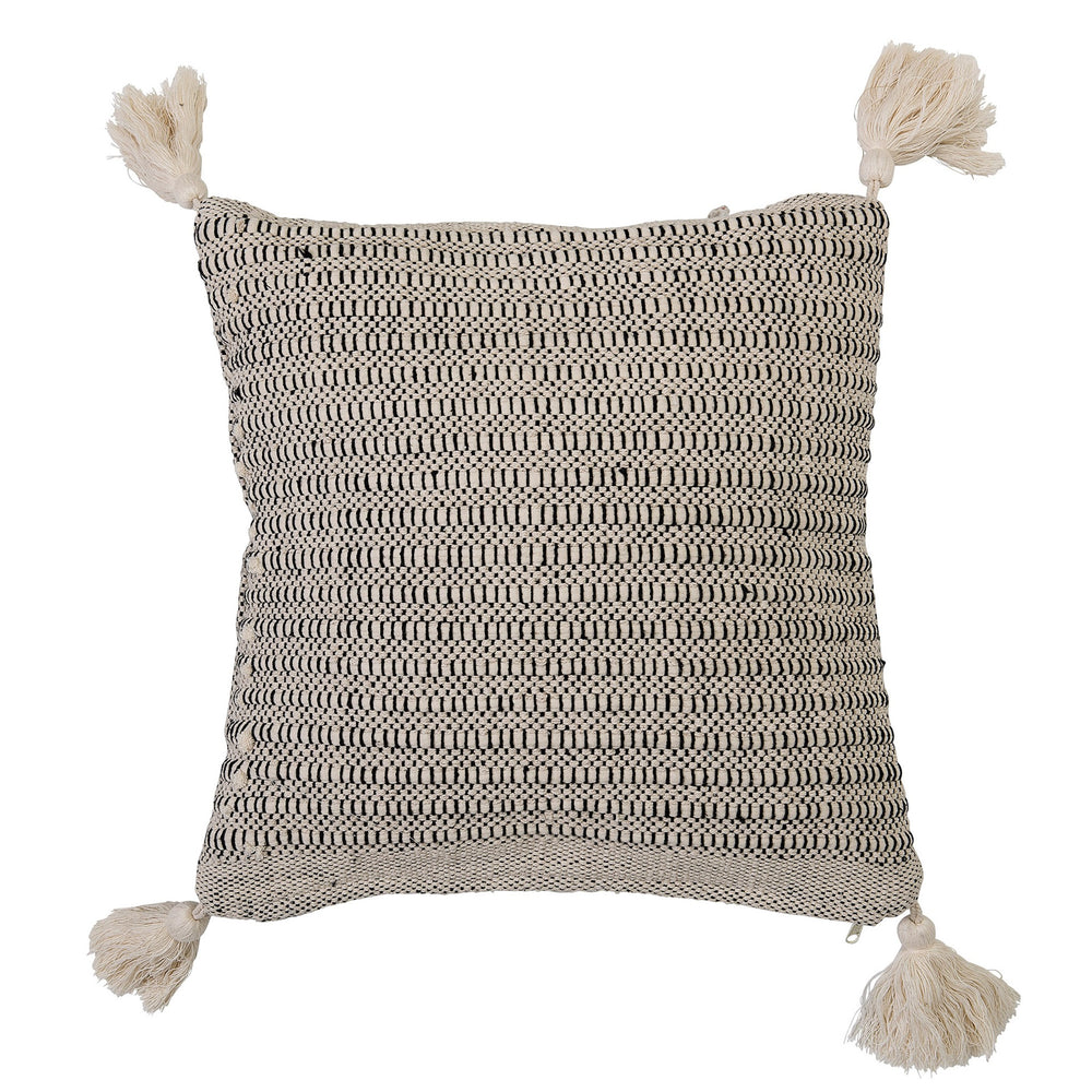 BLACK & BEIGE SQUARE COTTON PILLOW WITH CORNER TASSELS