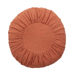 "18"" ROUND COTTON PILLOW WITH GATHERED DESIGN"