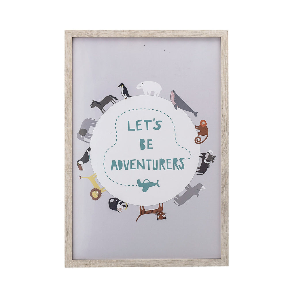 """LET'S BE ADVENTURERS"" ANIMAL GLOBE WALL ART IN FRAME"