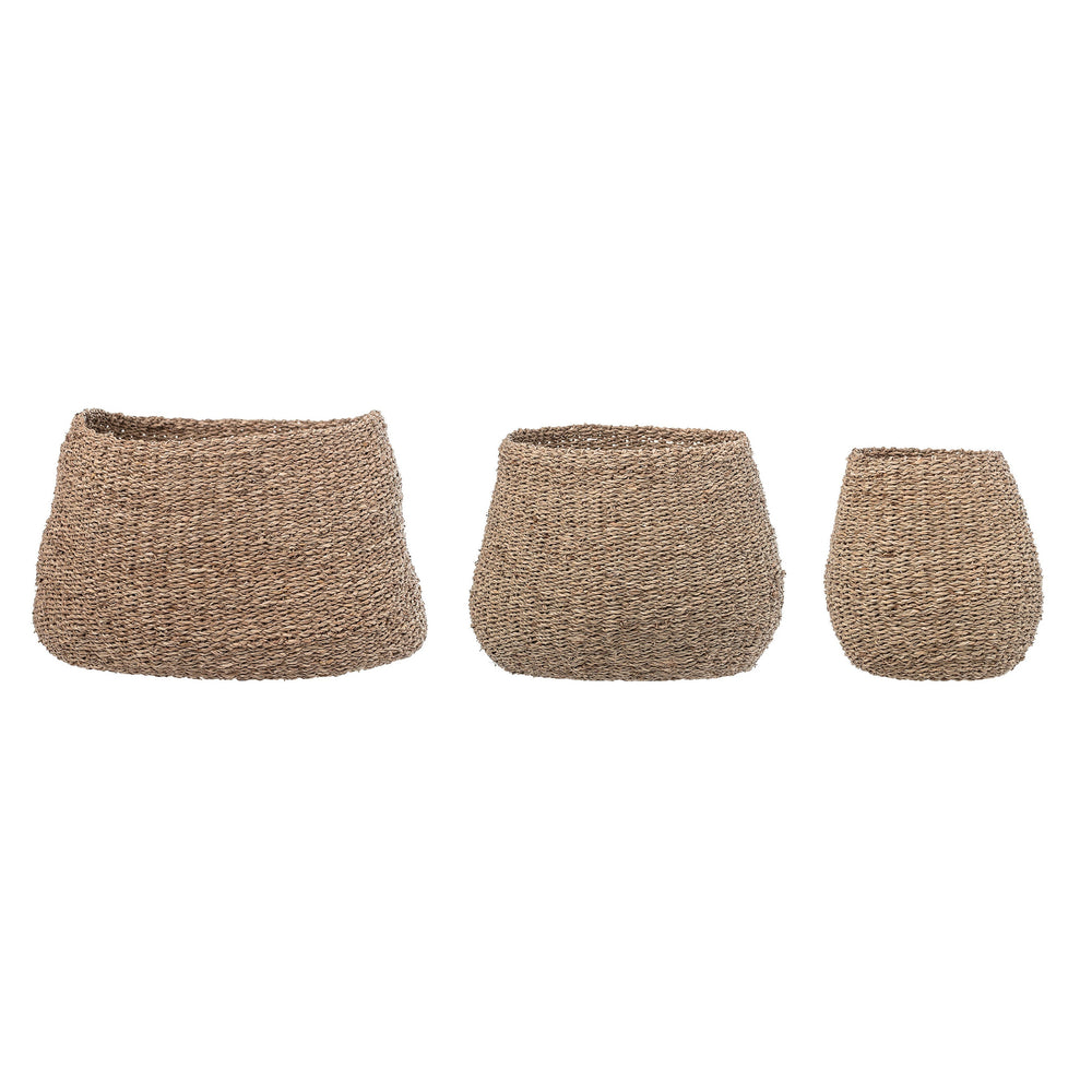 BROWN NATURAL SEAGRASS BASKETS (SET OF 3 SIZES)