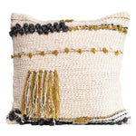 WHITE HANDWOVEN SQUARE WOOL BLEND PILLOW WITH GREEN & BLACK DECORATIVE ACCENTS