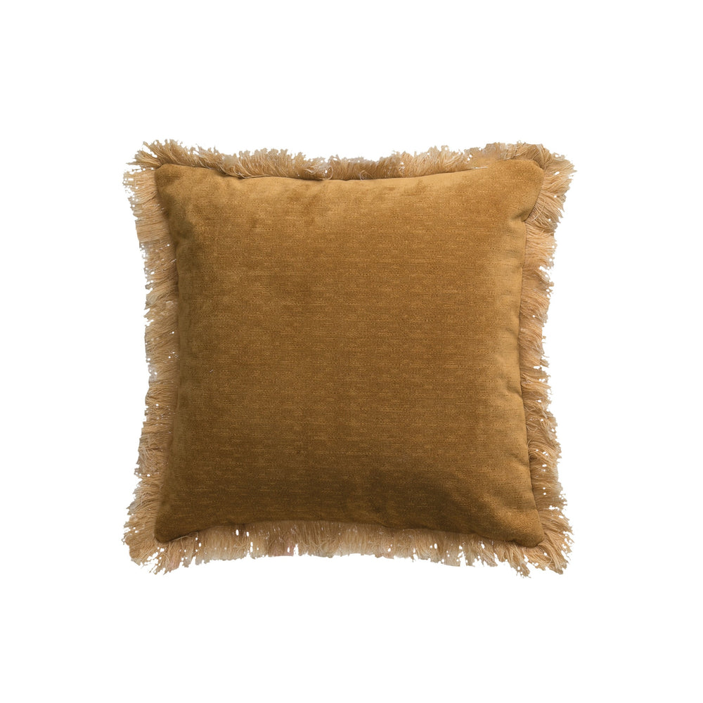 "18"" SQUARE POLYESTER PILLOW WITH FRINGED ENDS"