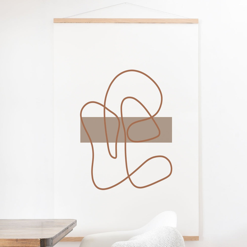 MAMBO ART STUDIO ABSTRACT LINE NEUTRAL ART PRINT AND HANGER