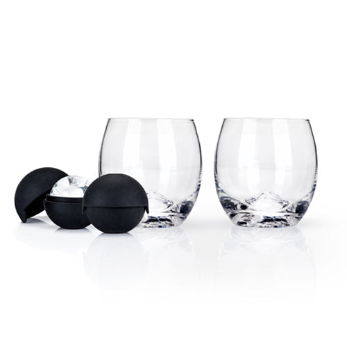 Load image into Gallery viewer, GLACIER ROCKS® 4-PIECE ICE BALL MOLD AND TUMBLER SET BY VISK