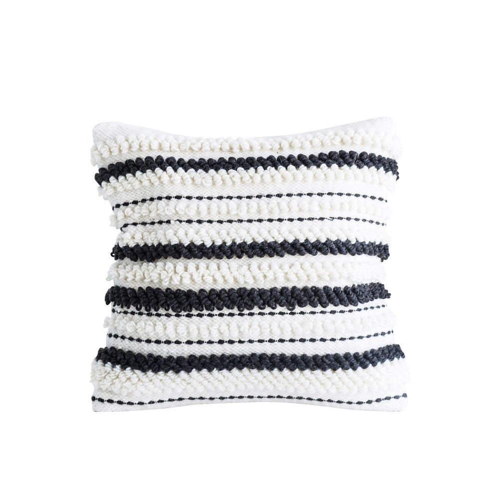 SQUARE WOOL WOVEN PILLOW WITH THICK BROWN & WHITE LOOP STRIPES