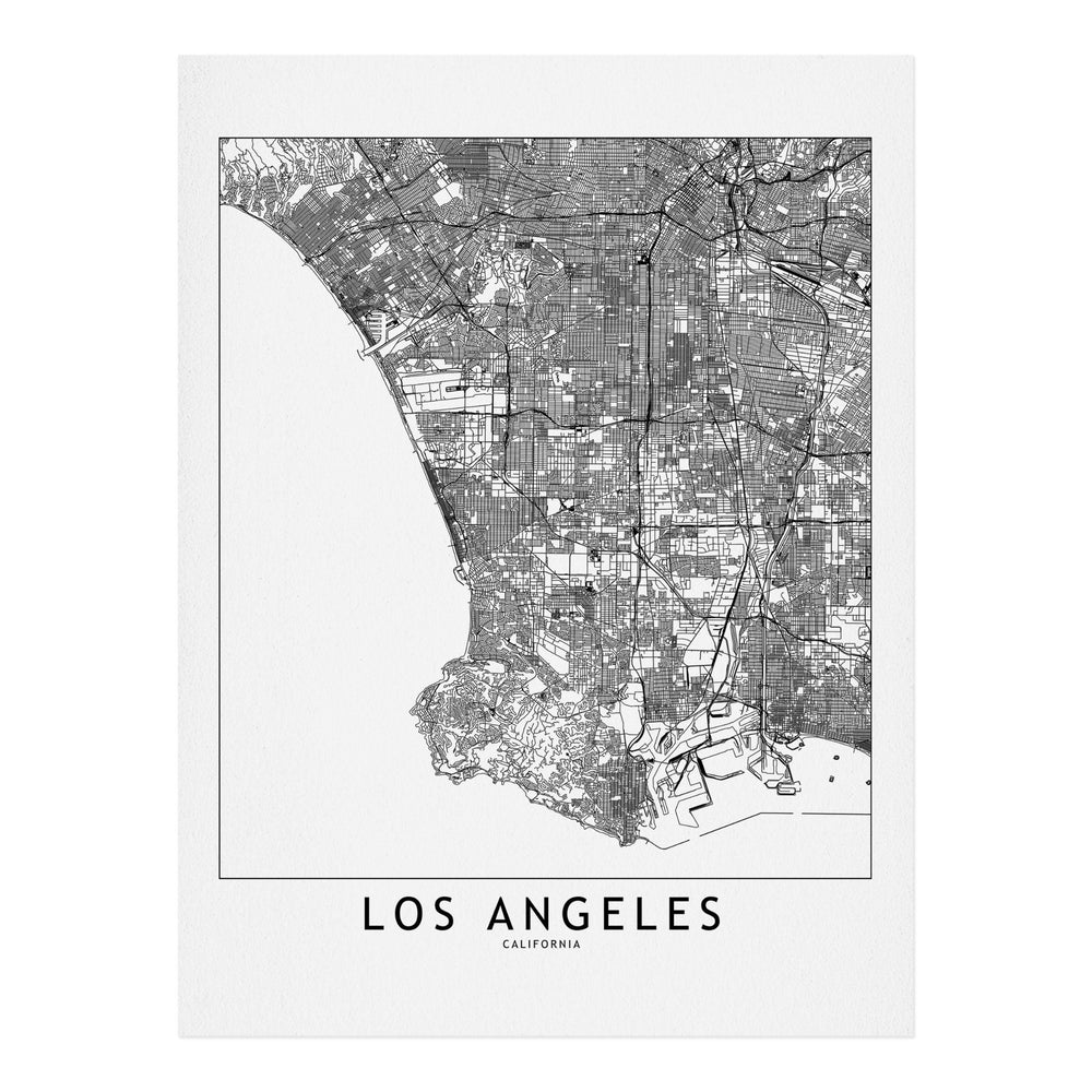 multipliCITY LOS ANGELES WHITE MAP ART PRINT