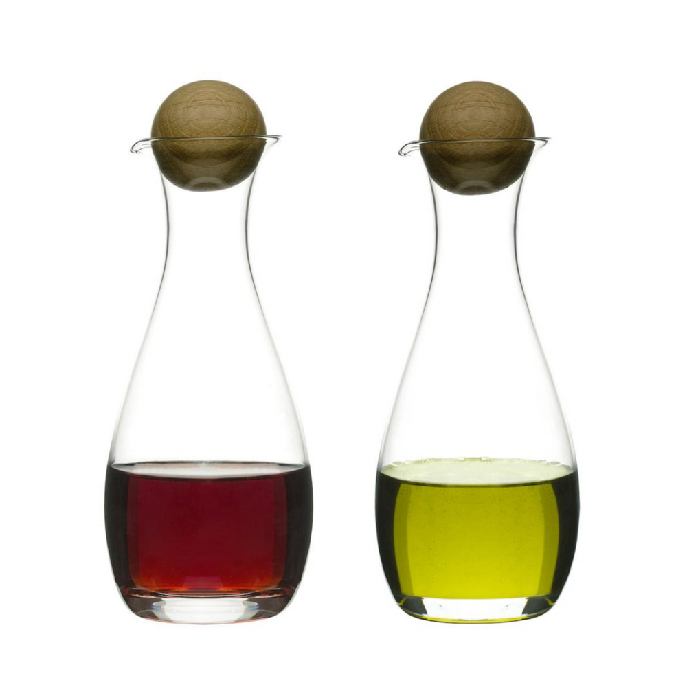 NATURE OIL & VINEGAR BOTTLE W/ OAK STOPPER, 2 PACK