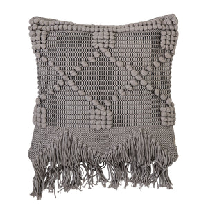 TEXTURED GREY COTTON PILLOW WITH FRINGE