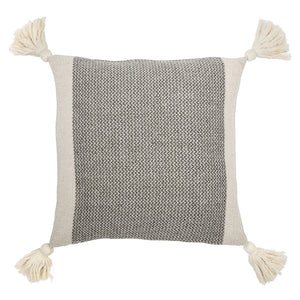 SQUARE GREY & CREAM COTTON BLEND PILLOW WITH CORNER TASSELS