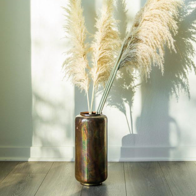 OXIDIZED COPPER METAL VASE
