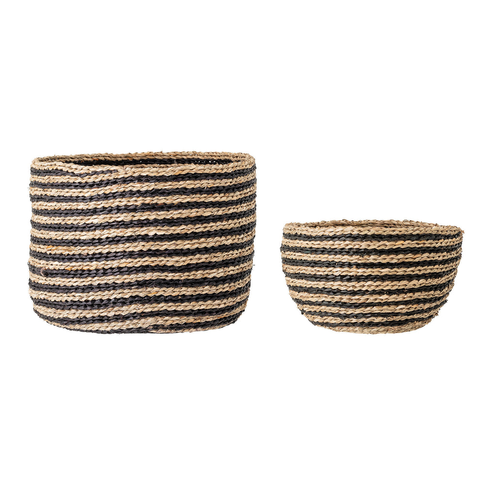 HANDWOVEN STRIPED SEAGRASS BASKETS (SET OF 2 SIZES)