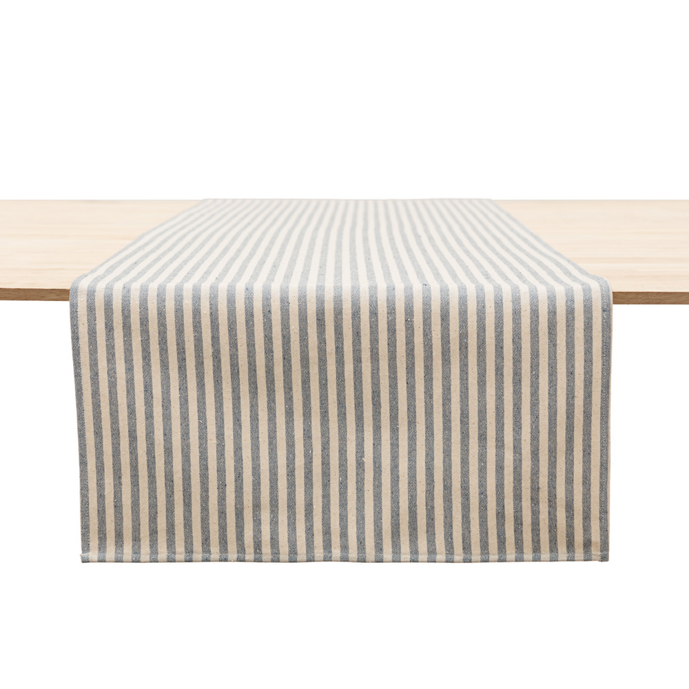STRIPED UPCYCLED COTTON TABLE RUNNER