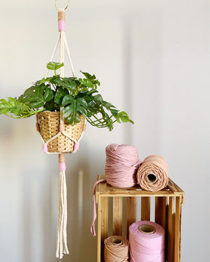 Load image into Gallery viewer, THINK PINK - MACRAME PLANT HANGER