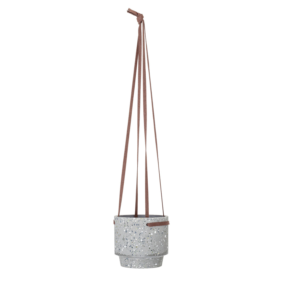 GRAY CEMENT TERRAZZO HANGING POT WITH LEATHER STRAPS