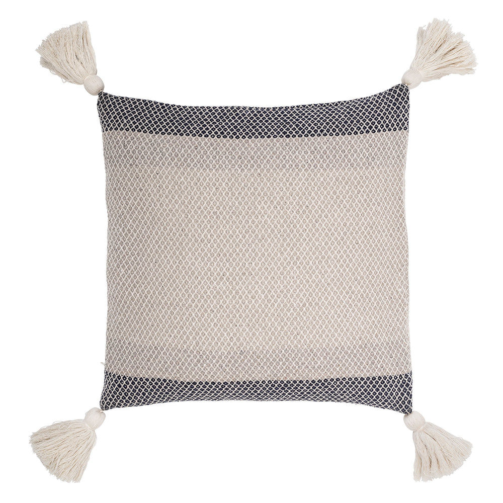 WHITE & BLUE SQUARE COLOR BLOCK COTTON STRIPED PILLOW WITH CORNER TASSELS