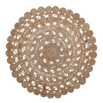 4' ROUND HANDWOVEN JUTE RUG WITH LACE PATTERN