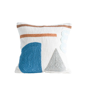 SQUARE WHITE COTTON PILLOW WITH EMBROIDERED GEOMETRIC DESIGNS