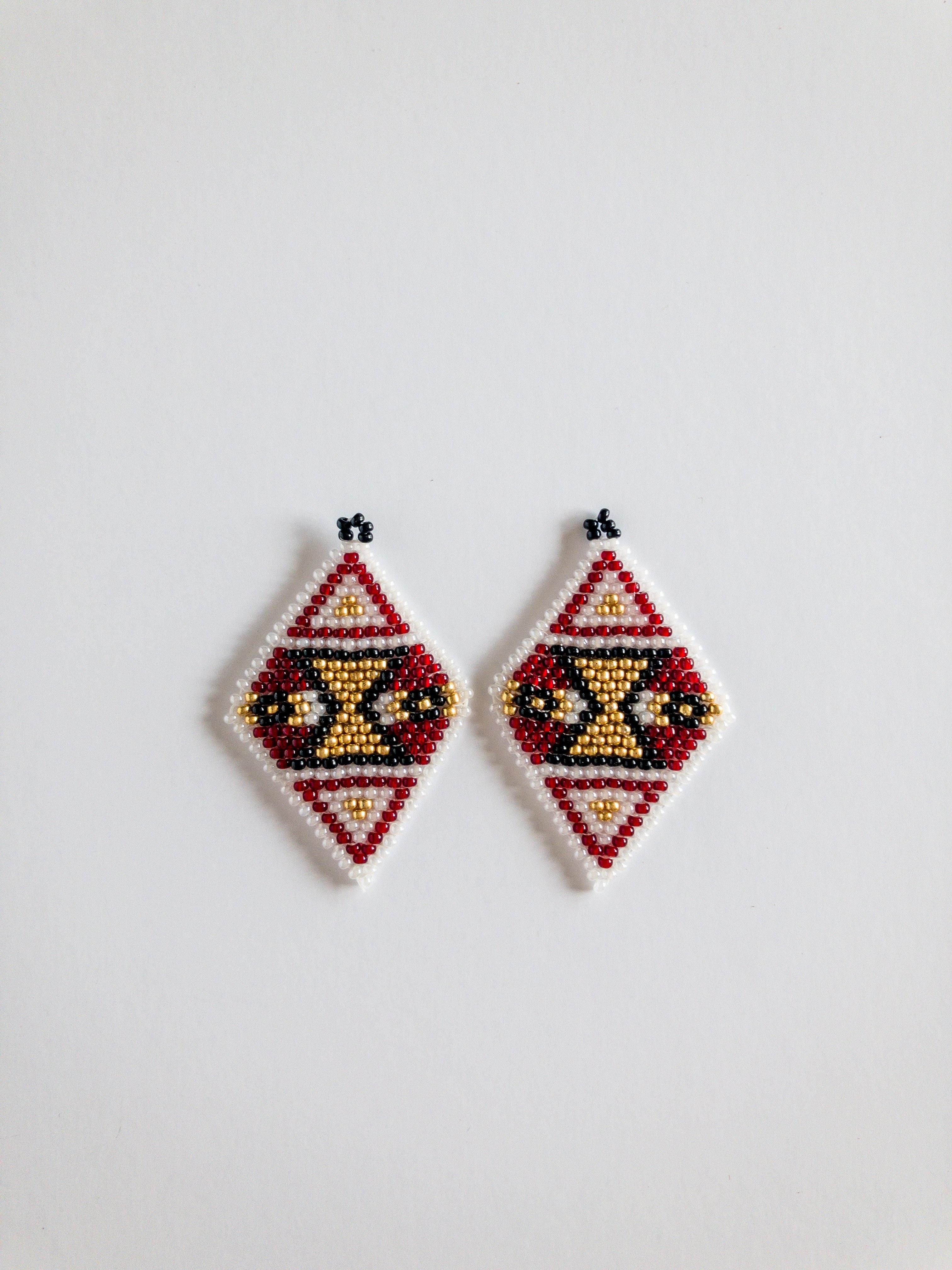 Diamond shaped seed bead earrings with red, gold, white and black beads