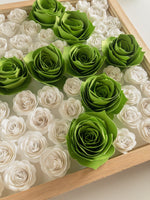 Load image into Gallery viewer, Wood frame with white and green paper flowers in arrow shape