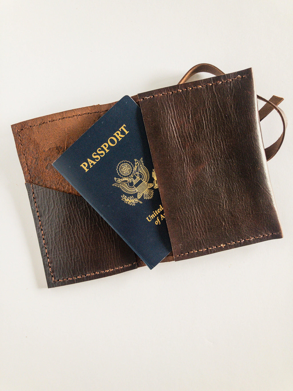 Brown leather passport holder