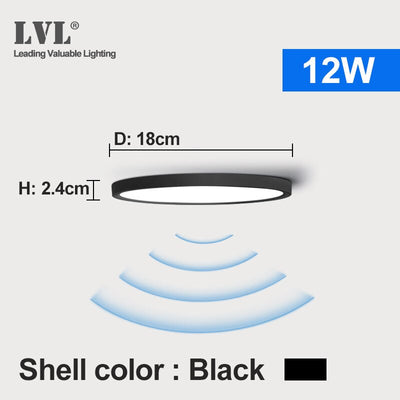 LED Radar Induction Ceiling Light 12W 18W 24W 220Vac Motion Sensor Surface Mounted Modern Ceiling Lamp For Hallways Corridor