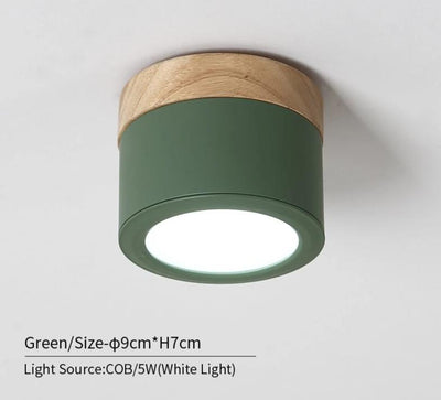 Nordic LED Round Wooden Ceiling Lamp