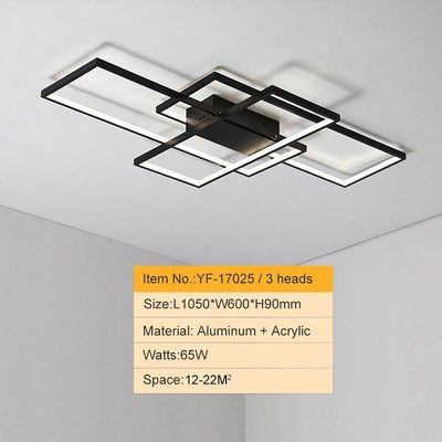 Lighting Garner - Black or White Cross Aluminum Modern Led Ceiling Chandelier