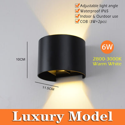 IP65 Waterproof Indoor & Outdoor Adjustable 6W LED Wall Lamp