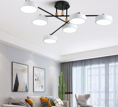 Modern Round  Gray Metal Lampshades Chandelier For Living Room