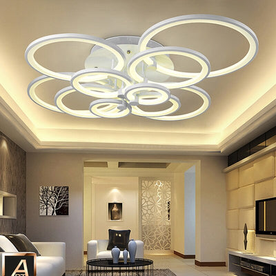 Modern LED rings Ceiling Lamp geometry fixtures Dimmable+Remote control