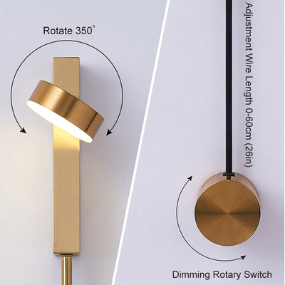 Rotation dimming switch led wall light