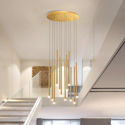 Black/Golden Modern LED Rotating Staircase Adjustable Large New Hanging Lamp