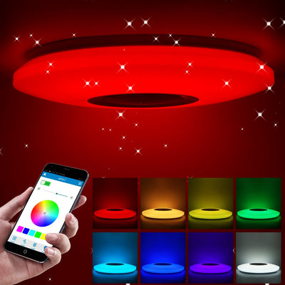 RGB Embedded Mount Round Color Changing Light With Bluetooth Speaker