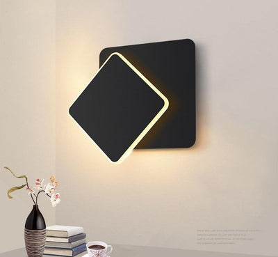 Square 360 degrees Rotatable Metal LED Wall Lamp