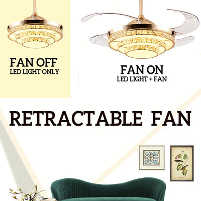 Crystal 220V 65W 42'' Retractable LED Chandelier Ceiling Light 3 Speed Remote Control Blade Fan Lamp
