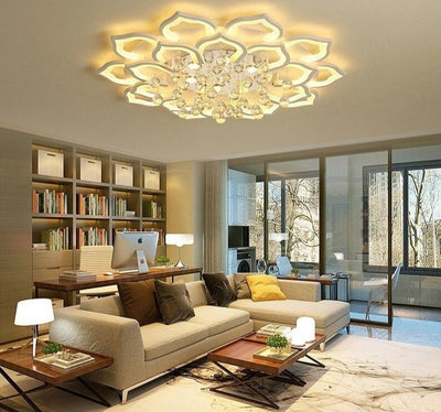 White Acrylic Modern remote control LED Chandelier For Living Room