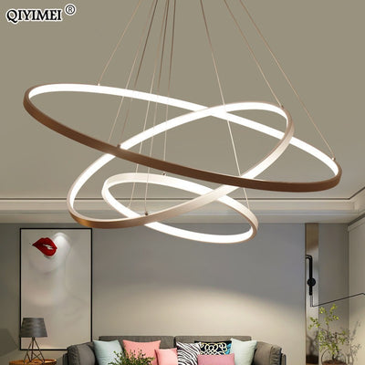 Modern LED Pendant lights for living dining room white golden coffee black Circle Rings aluminum body Lamp fixtures home lamp