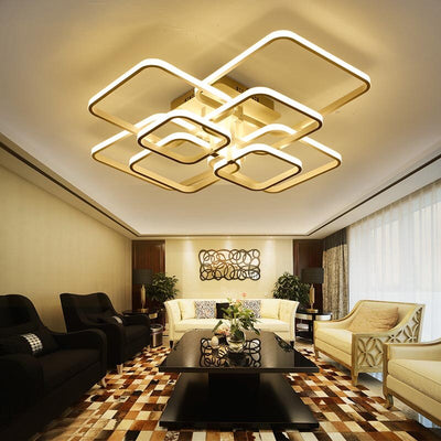 Living Room Square Circle Rings Lamp Fixtures