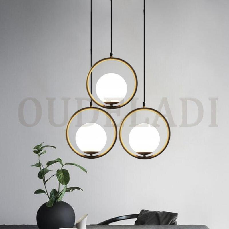Vintage Hoop Gold Modern LED Hanging Loft Industrial Lamp for Living Room