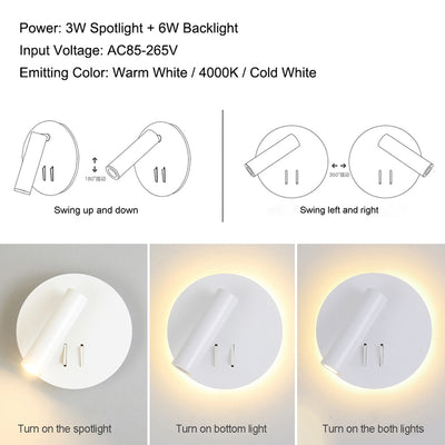 Nordic LED Bedside Wall Lamp with switch