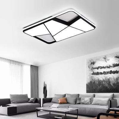 Black/White Rectangle modern led ceiling lights for living room With RC