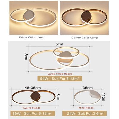 Modern White/Coffee Surface mounted Crop Circles Ceiling Lamp