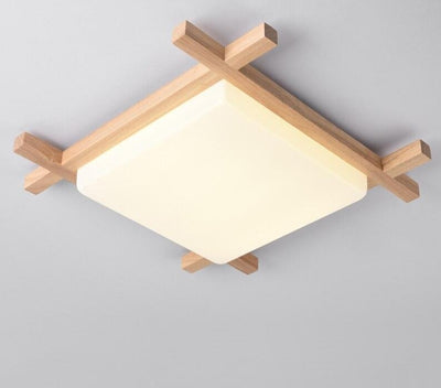 Nordic LED Wooden Ceiling Lights In Square Shape