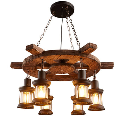 Vintage Industrial Loft Nordic Retro Solid Wood LED Pendant Lights