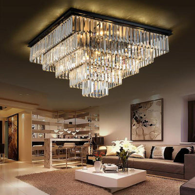 Crystal Flush Mounted Ceiling Light for Home and Hotel Decoration