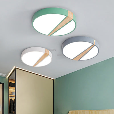 Round Green Modern LED Ceiling Light Fixture