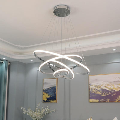 Creative hotel bar simple ring circular decorative dimming remote control contemporary pendant lamp