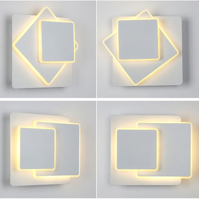 3 Layers 16W Nordic Rotating Led Wall Lamp Modern Acrylic Multi-layer Wall Light Living Room Bedroom Bedside Background Lamp New